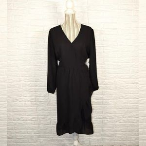 Old Navy Semi Sheer Black Ruffled Midi Dress